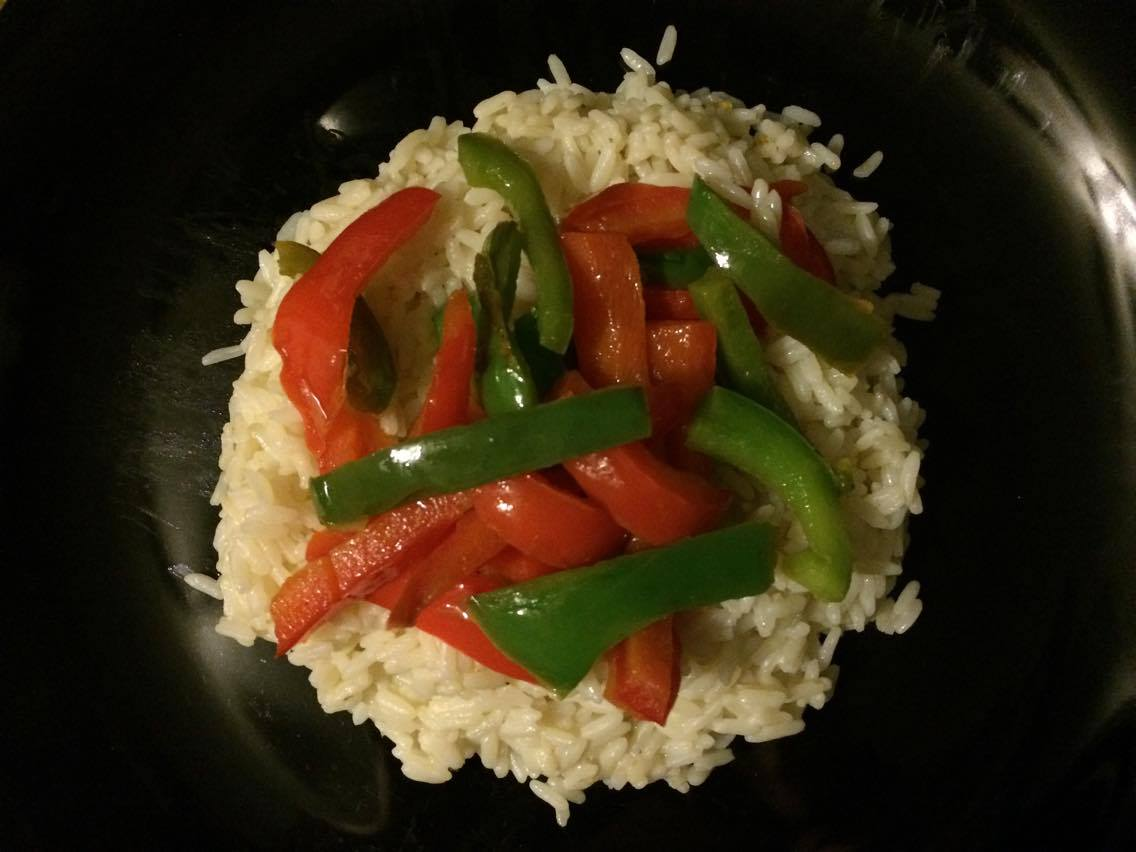 Rice with sauteed peppers